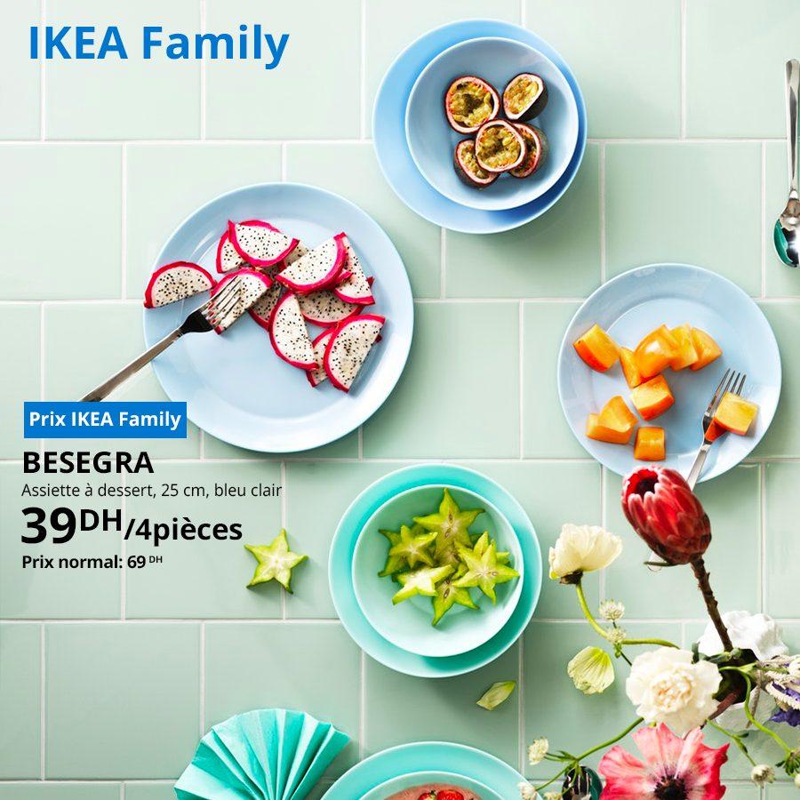 Soldes Ikea Family Assiette à dessert 4 pièces BESEGRA 39Dhs au lieu de 69Dhs