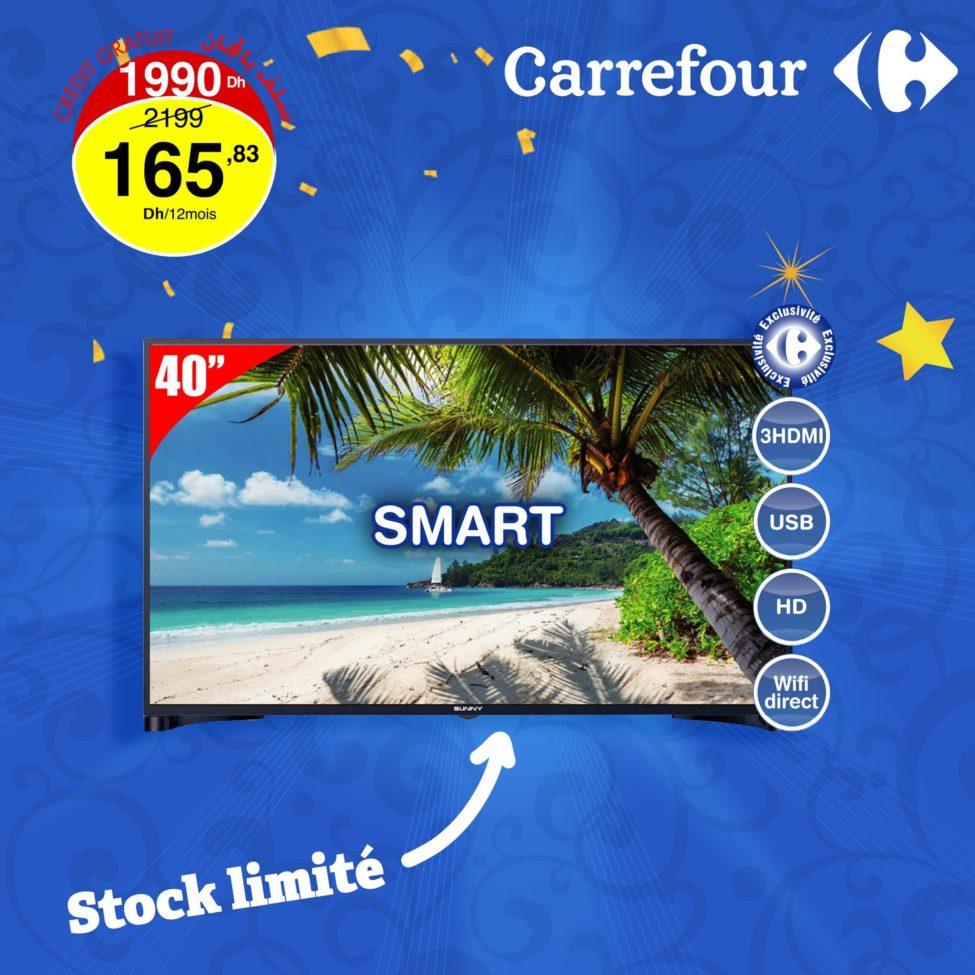 Promo Carrefour Maroc Smart TV 40° SUNNY 1990Dhs au lieu de 2199Dhs