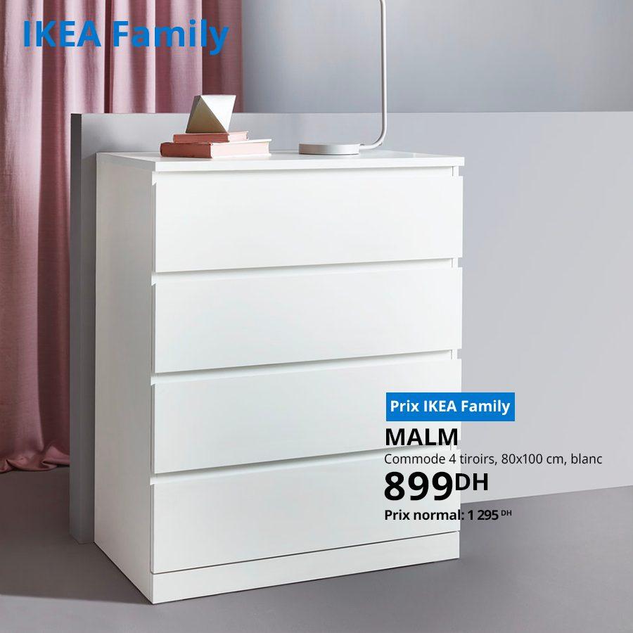 Soldes Ikea Family Commode 4 Tiroirs blanc 899Dhs au lieu de 1295Dhs