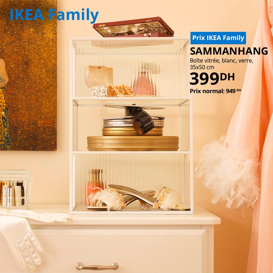 Soldes Ikea Family Boîte vitrée en verre SAMMANHANG 399Dhs au lieu de 949Dhs