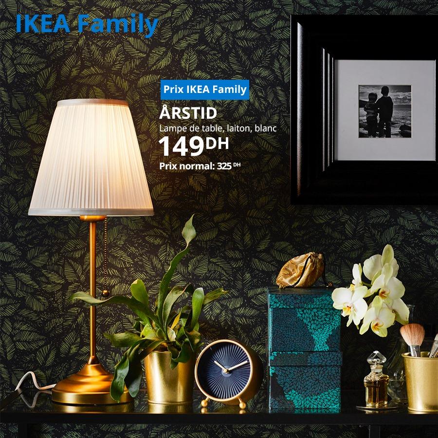Soldes Ikea Family Lampe de table ARSTID 149Dhs au lieu de 325Dhs