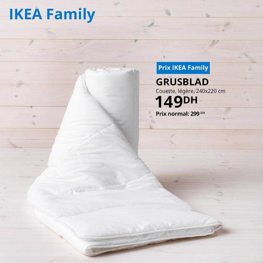 Soldes Ikea Family Couette légère GRUSBLAD 149Dhs au lieu de 299Dhs