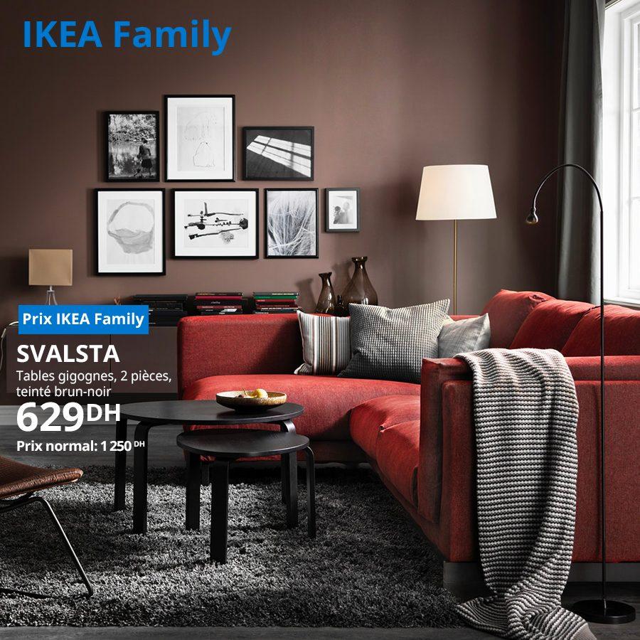 Soldes Ikea Family Tables gigognes 2 pièces SVALSTA 629Dhs au lieu de 1250Dhs
