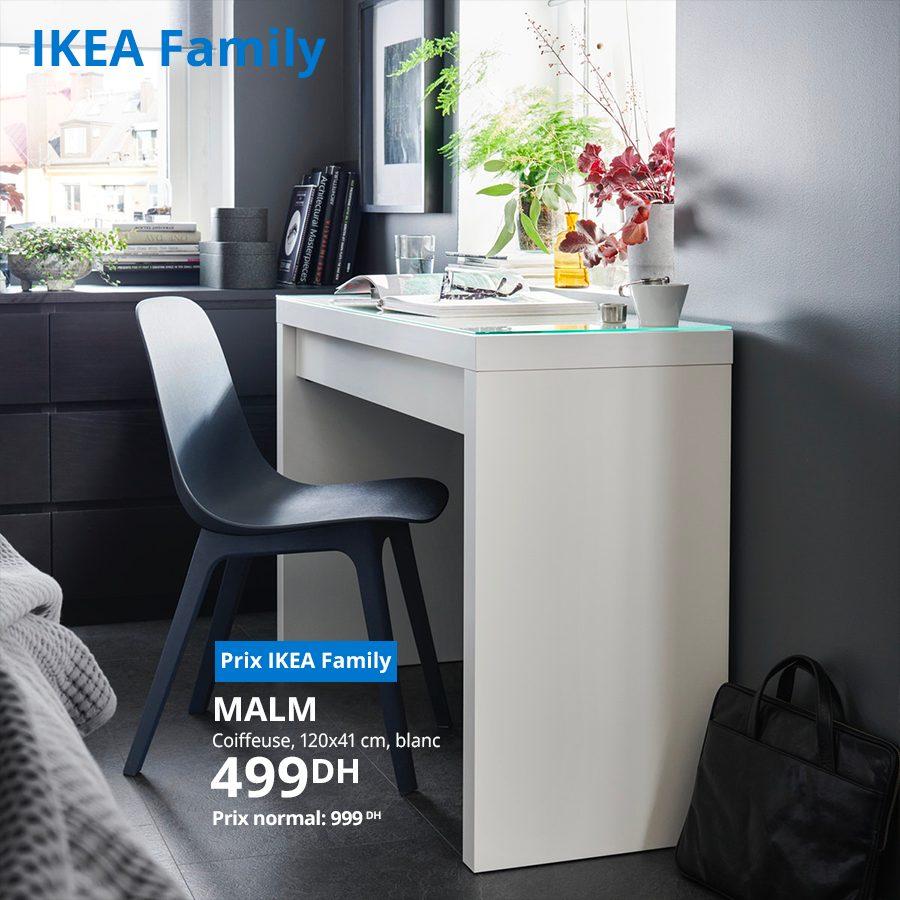 Soldes Ikea Family Coiffeuse blanche MALM 499Dhs au lieu de 999Dhs
