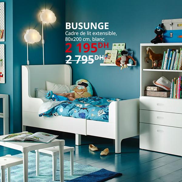 Soldes Ikea Maroc Cadre de lit extensible BUSUNGE 2195Dhs au lieu de 2795Dhs