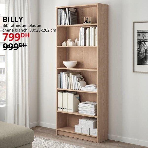 Soldes Ikea Maroc Bibliothèque plaqué BILLY 799Dhs au lieu de 999Dhs