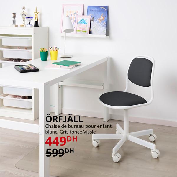 Promo Ikea Maroc Chaise de bureau enfant ORFJALL 449Dhs au lieu de 599Dhs