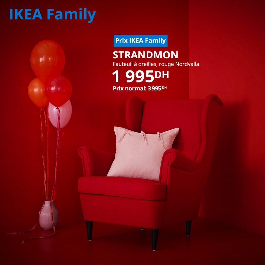 Soldes Ikea Family Fauteuil à oreillers rouge STRANDMON 1995Dhs au lieu de 3995Dhs
