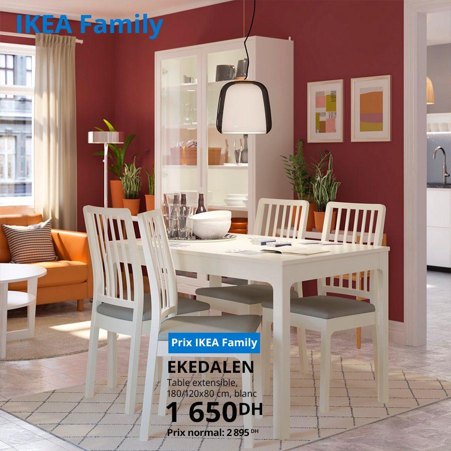 Soldes Ikea Family Table extensible EKEDALEN 1650Dhs au lieu de 2895Dhs