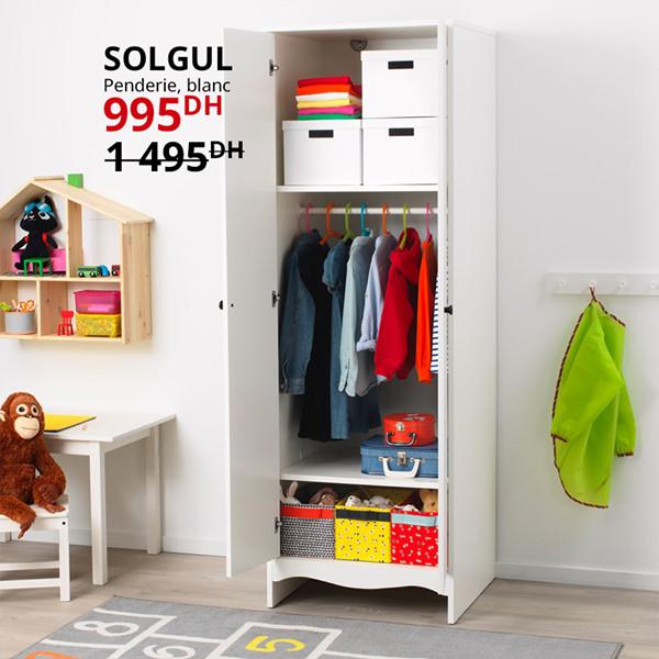 Soldes Ikea Maroc Penderie blanc SOLGUL 995Dhs au lieu de 1495Dhs