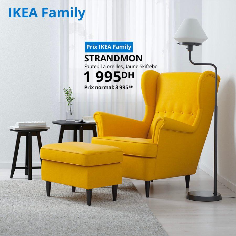 Soldes Ikea Family Fauteuil à oreilles Jaune STRANDMON 1995Dhs au lieu de 3995Dhs