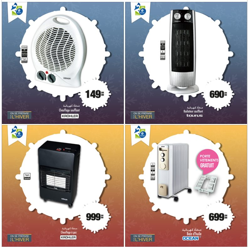 Promo Aswak Assalam large choix des Chauffages à partir de 149Dhs