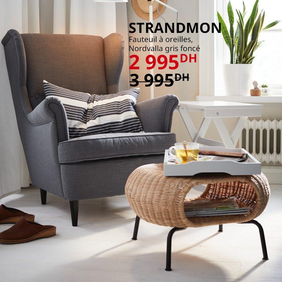 Soldes Ikea Maroc Fauteuil à Oreilles STRANDMON 2995Dhs au lieu de 3995Dhs