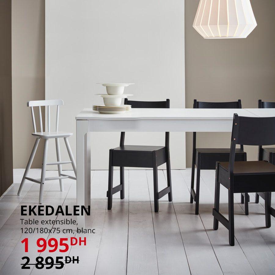 Soldes Ikea Maroc Table blanche extensible 1995Dhs au lieu de 2895Dhs