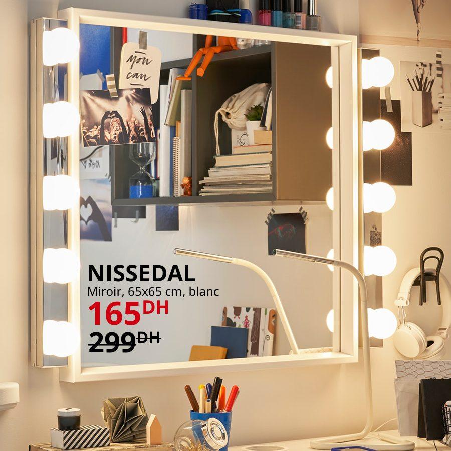 Soldes Ikea Maroc Miroir Blanc NISSEDAL 165Dhs au lieu de 299Dhs