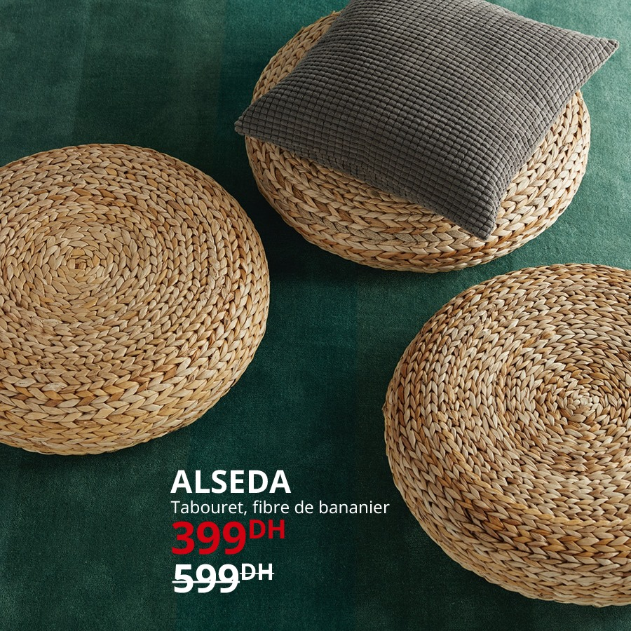 Promo Ikea Maroc Tabouret fibre de bananier ALSEDA 399Dhs au lieu de 599Dhs