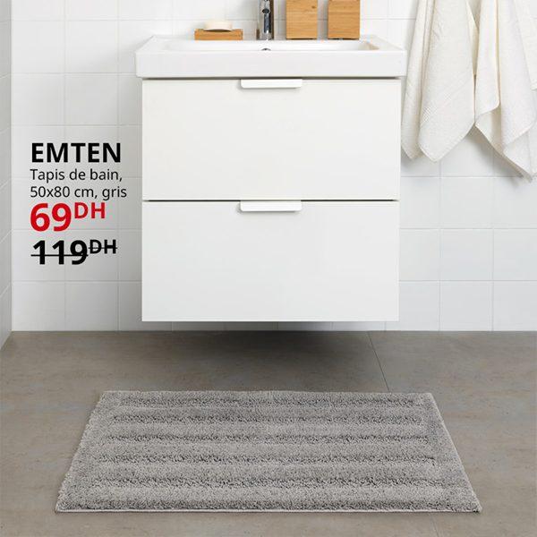 Soldes Ikea Maroc Tapis de bain 50x80cm gris EMTEN 69Dhs au lieu de 119Dhs