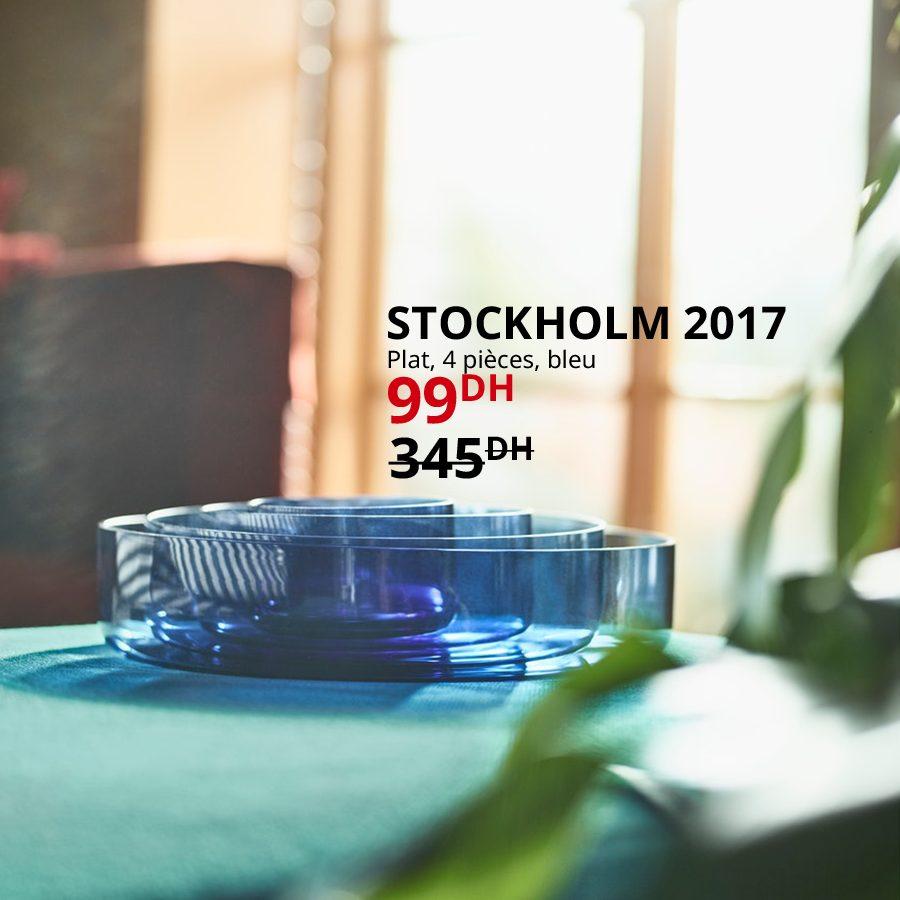 Soldes Ikea Maroc Plat 4 pièces bleu STOCKHOLM 2017 à 99Dhs au lieu de 345Dhs