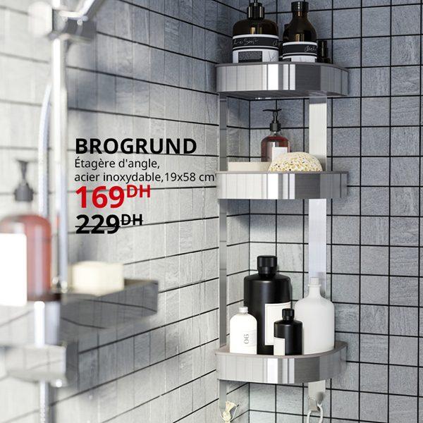 Soldes Ikea Maroc étagère d'angle acier inoxydable BRIGRUND 169Dhs au lieu de 229Dhs
