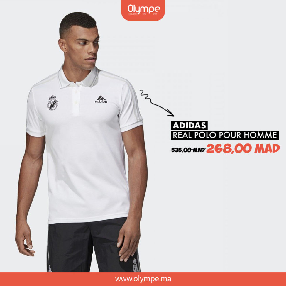 Promo Olympe Store Polo Real Madrid ADIDAS homme 268Dhs au lieu de 535Dhs