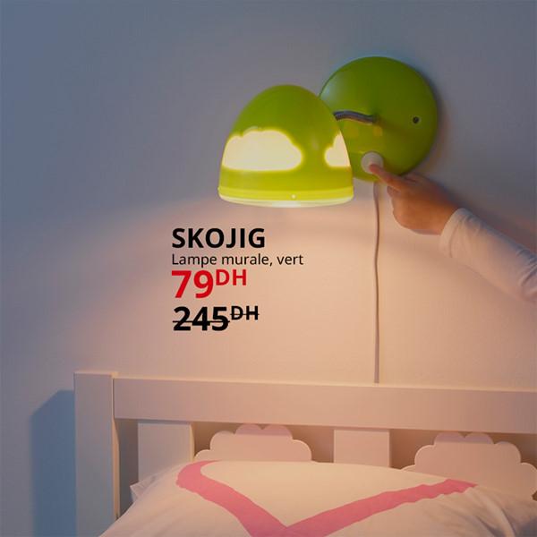 Soldes Ikea Maroc Lampe murale vert SKOJIG 79Dhs au lieu de 245Dhs