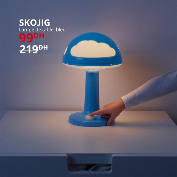 Soldes Ikea Maroc Lampe de table bleu SKOJUG 99Dhs au lieu de 219Dhs