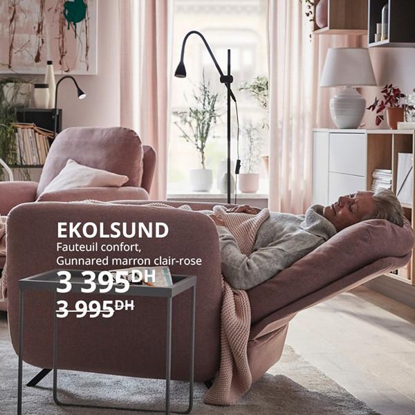 Promo Ikea Maroc Fauteuil confort EKOLSUND 3395Dhs au lieu de 3995Dhs