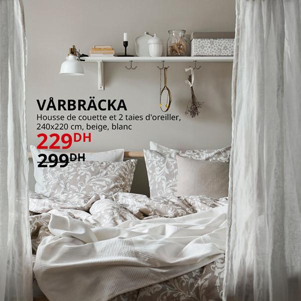 Soldes Ikea Maroc Housse de couette et 2 taies d'oreiller VARBRACKA 229Dhs au lieu de 299Dhs