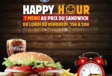 Happy Hour Burger King 1 menu au prix du sandwich du lundi au vendredi 15h à 20h Jusqu'au 19 Février 2020