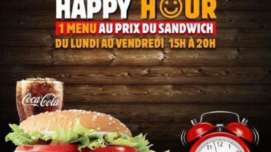 Photo de Happy Hour Burger King 1 menu au prix du sandwich du lundi au vendredi 15h à 20h Jusqu'au 19 Février 2020