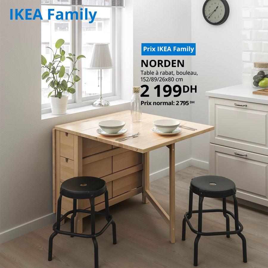 Soldes Ikea Family Table à rabat NORDEN 2199Dhs au lieu de 2795Dhs