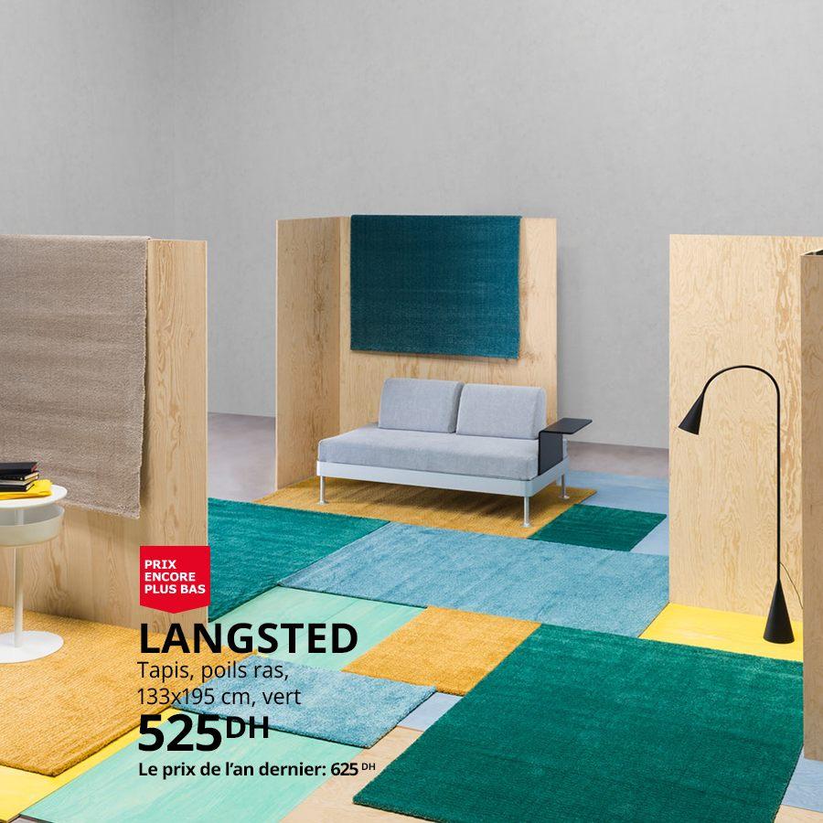 Soldes Ikea Maroc Tapis poils ras LANGSTED 525Dhs au lieu de 625Dhs