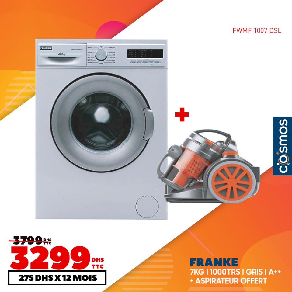 Soldes Cosmos Electro Lave-linge FRANKE 7Kg + Aspirateur 3299Dhs au lieu de 3799Dhs
