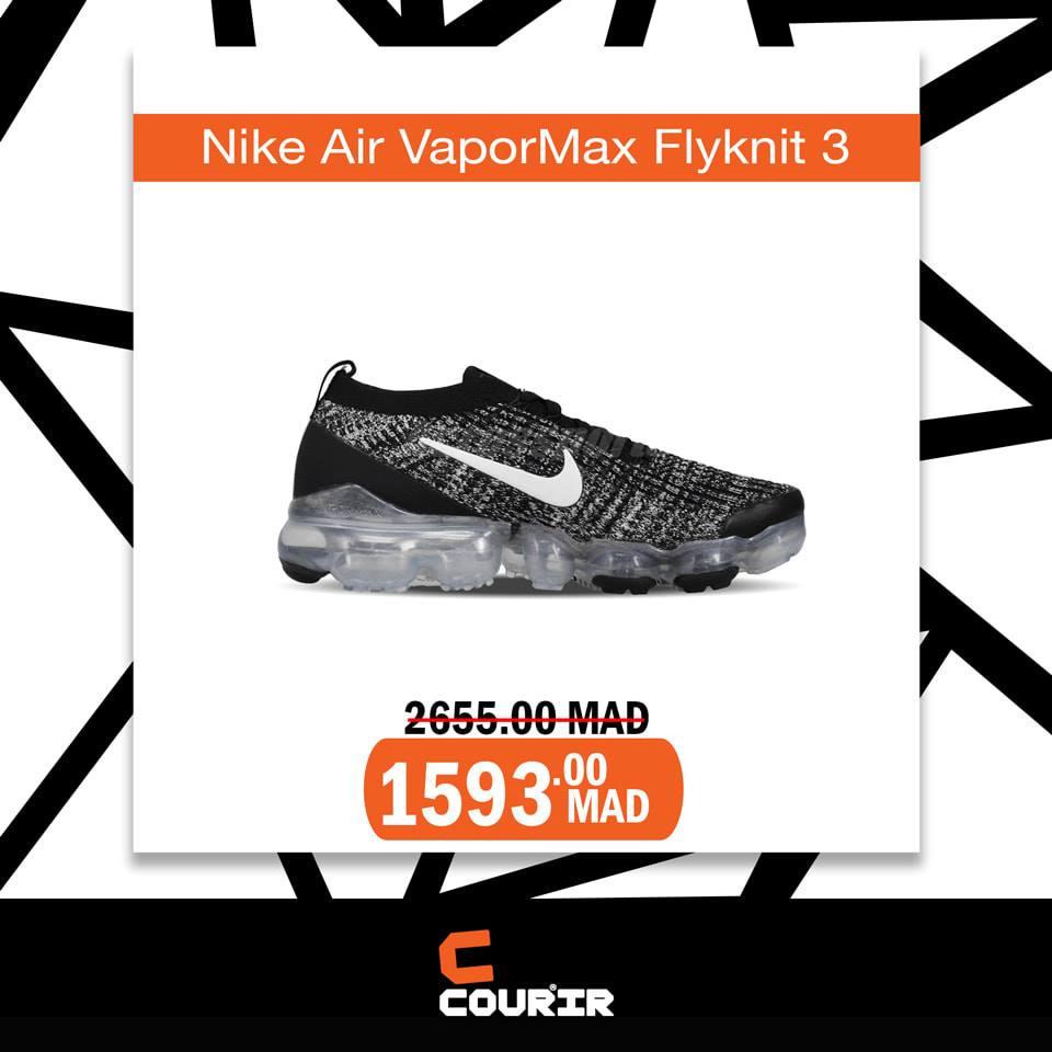 Soldes Courir Maroc Nike Air VaporMAx Flyknit 3 à 1593Dhs au lieu de 2655Dhs