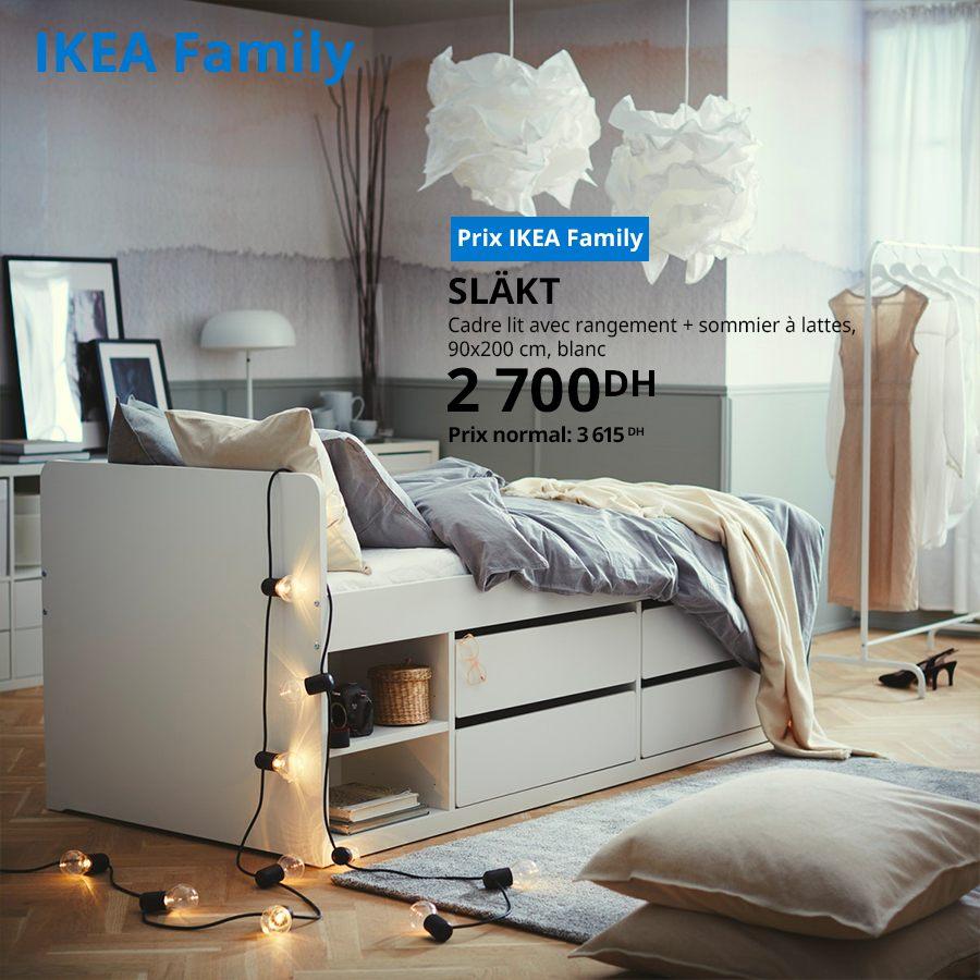 Soldes Ikea Family Cadre lit avec rangement + sommier à lattes SLAKT 2700Dhs au lieu de 3615Dhs