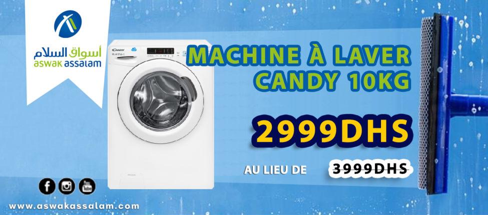 Promo Aswak Assalam MACHINE À LAVER CANDY 10Kg 2999Dhs au lieu de 3999Dhs