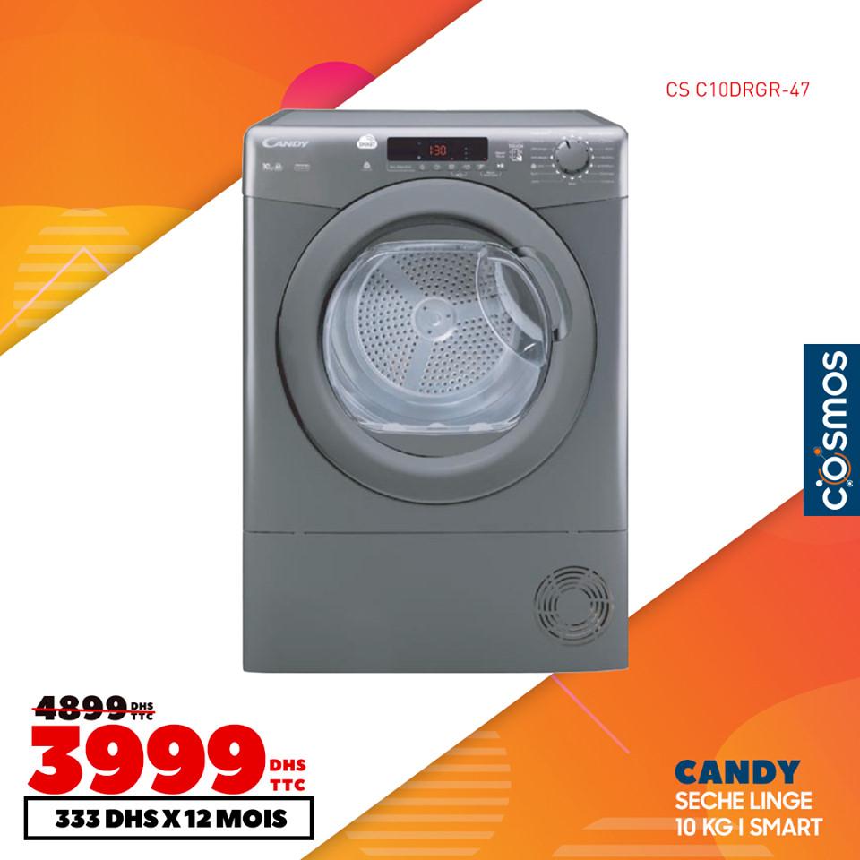 Soldes Cosmos Electro Sèche-linge CANDY 10Kg 3999Dhs au lieu de 4899Dhs