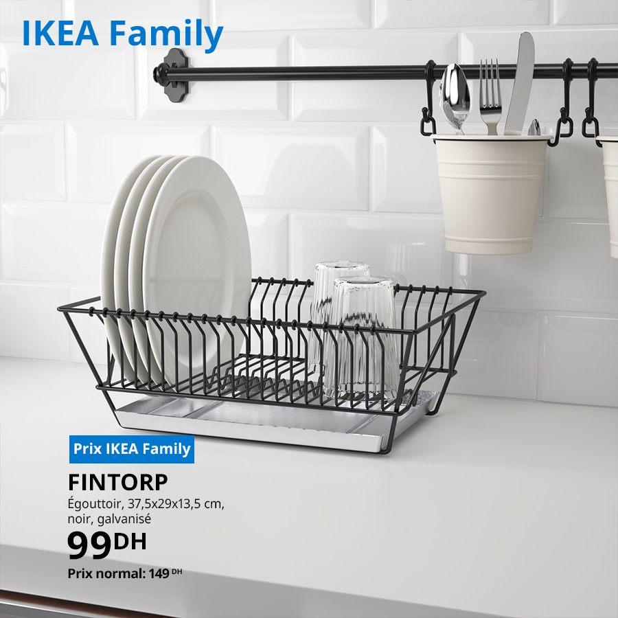 Soldes Ikea Family Égouttoir noir galvanisé FINTORP 99Dhs au lieu de 149Dhs
