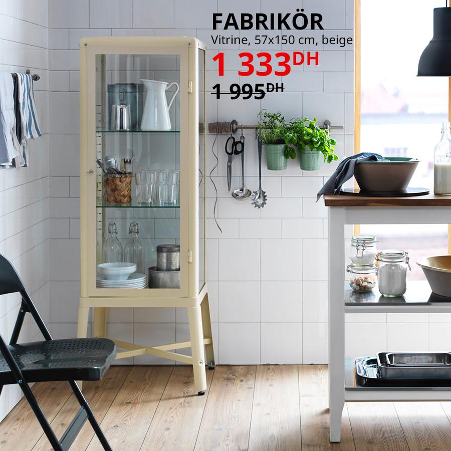 Soldes Ikea Maroc Vitrine beige FABRIKOR 1333Dhs au lieu de 1995Dhs