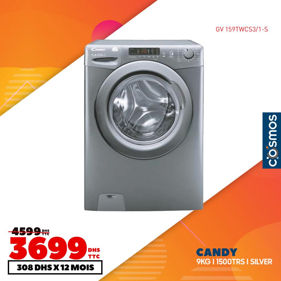 Soldes Cosmos Electro Lave-linge CANDY 9Kg 3699Dhs au lieu de 4599Dhs