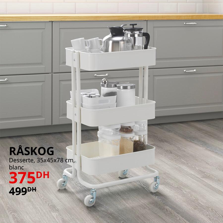 Soldes Ikea Maroc Desserte Blanche RASKOG 375Dhs au lieu de 499Dhs