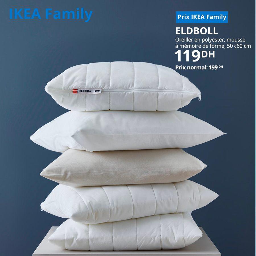 Soldes Ikea Maroc Oreiller en polyester ELDBOLL 119Dhs au lieu de 199Dhs