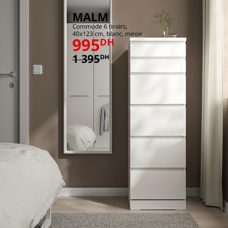 Soldes Ikea Maroc Commode 6 tiroirs blanc MALM 990Dhs au lieu de 1395Dhs