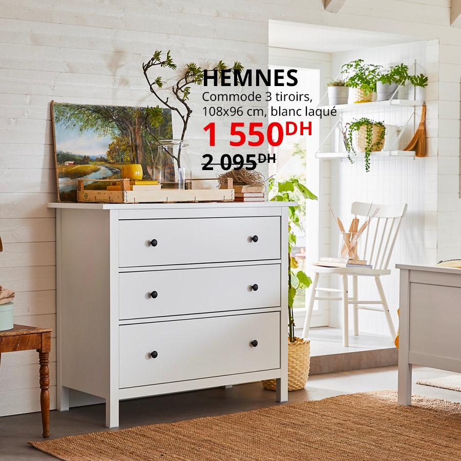 Soldes Ikea Maroc Commode 3 tiroirs blanc HEMNES 1550Dhs au lieu de 2095Dhs