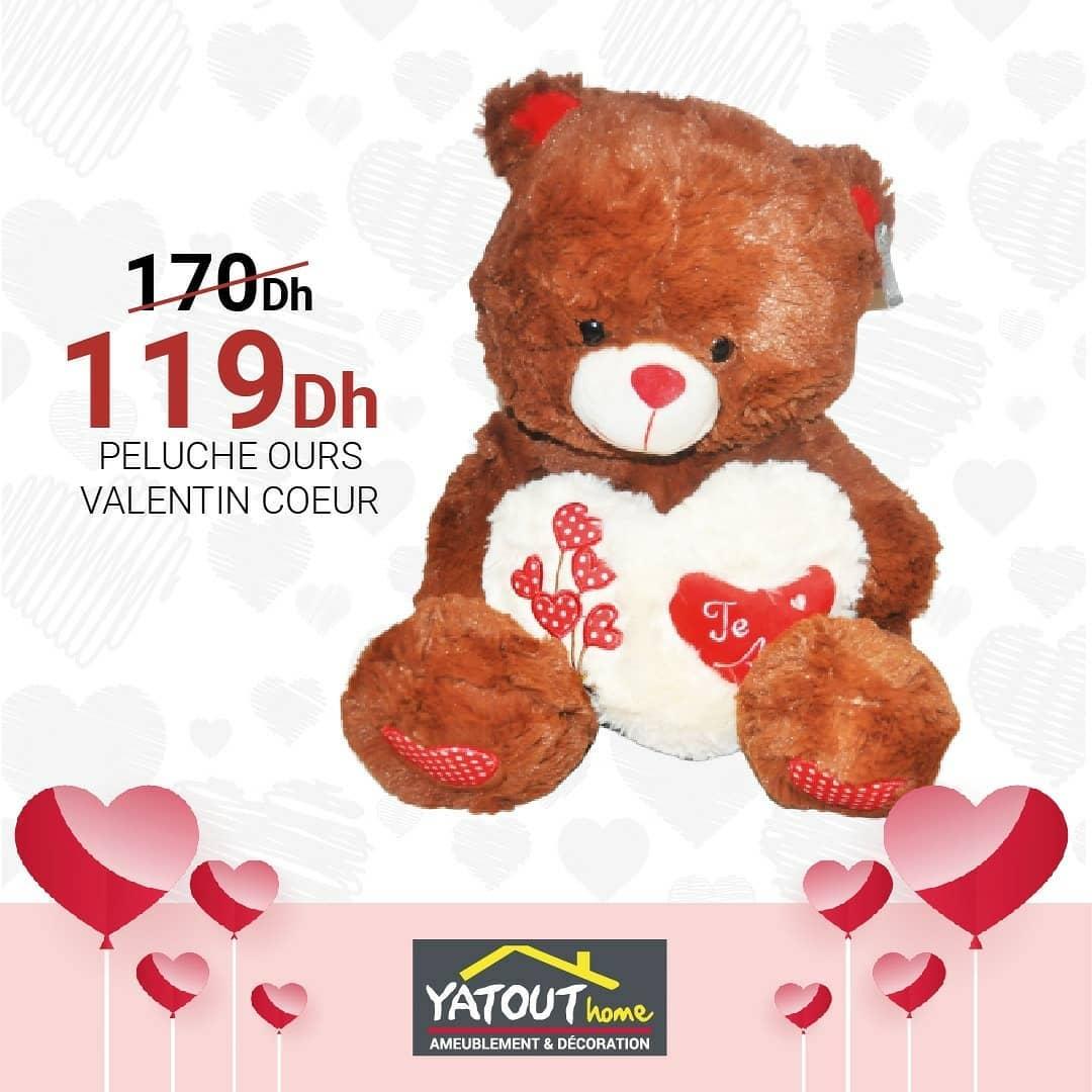 Soldes Yaout Home Peluche Ours VALENTIN Coeur 119Dhs au lieu de 170Dhs