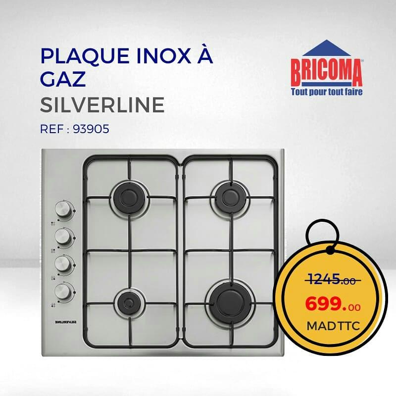 Promo Bricoma Plaque Inox à Gaz SILVERLINE 699Dhs au lieu de 1245Dhs