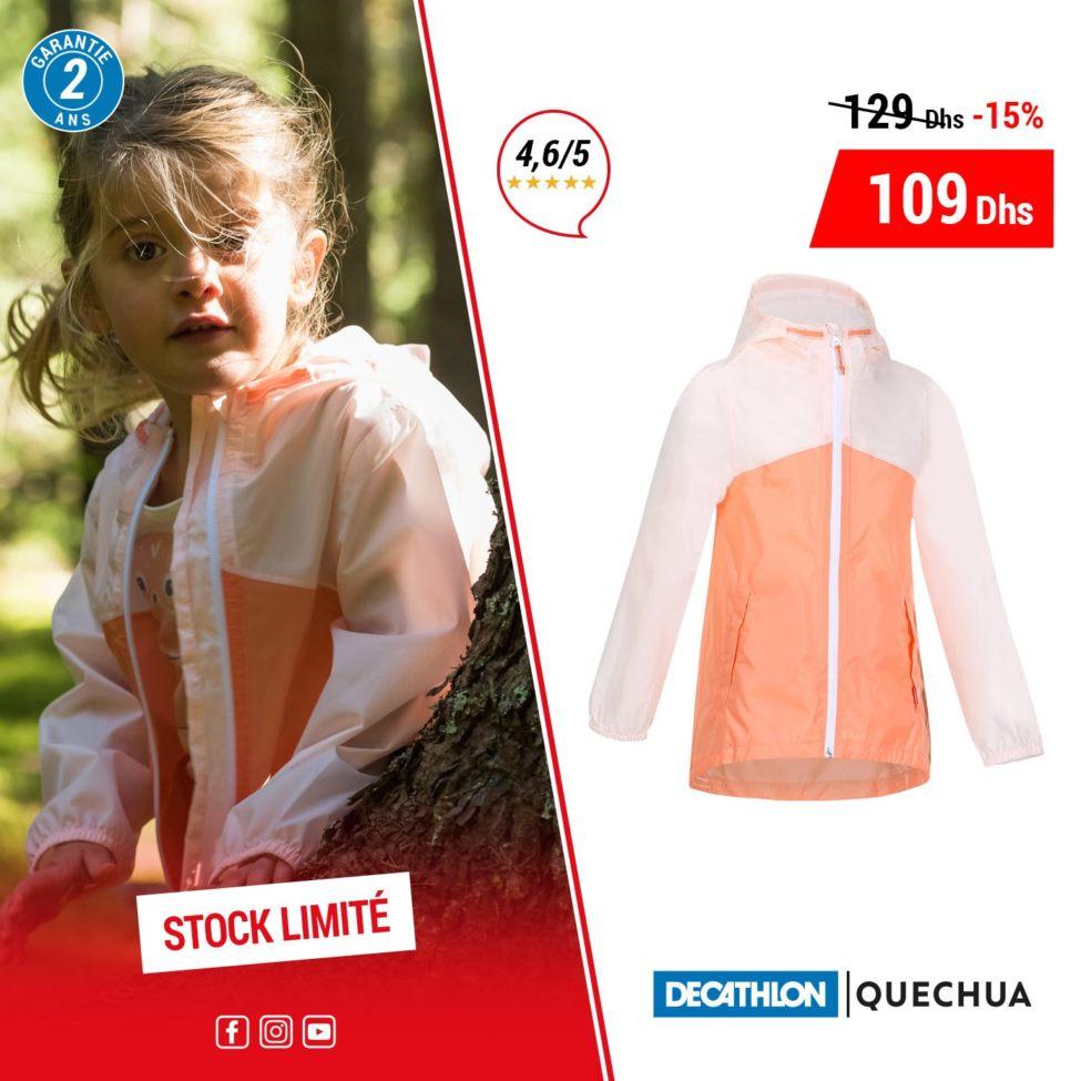 Promo Decathlon Maroc Jacket Imperméable pour fille QUECHUA 109Dhs au lieu de 129Dhs