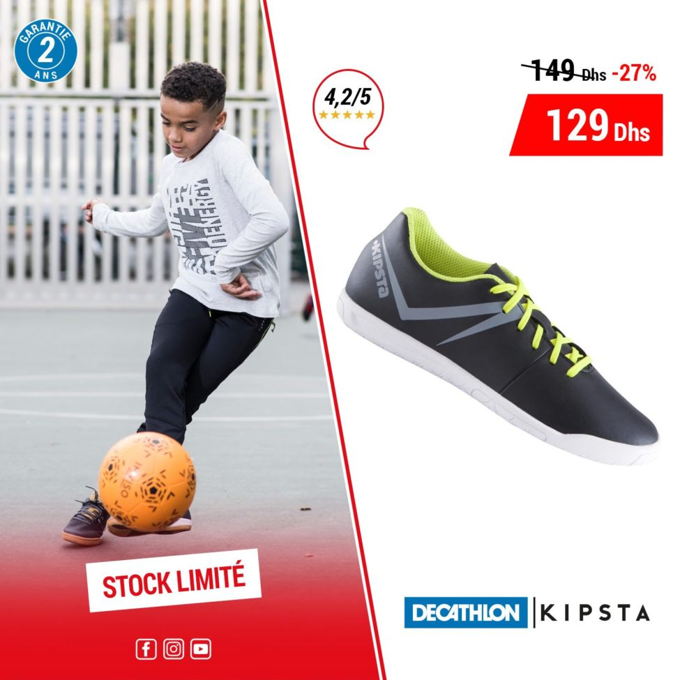 Soldes Decathlon Maroc Chaussure football Enfant KIPSTA 129Dhs au lieu de 149Dhs