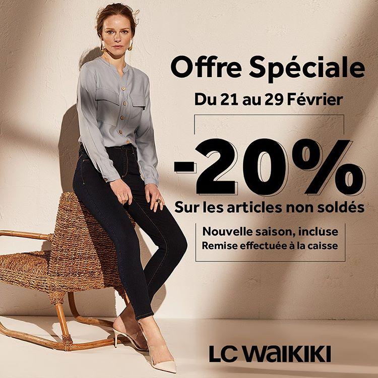 Offre Spéciale LC Waikiki Maroc -20% sur les articles non soldé Jusqu'au 29 Février 2020
