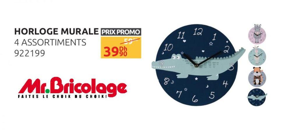 Soldes Mr Bricolage Maroc Horloge Murale 4 Assortiments 39Dhs au lieu de 59Dhs